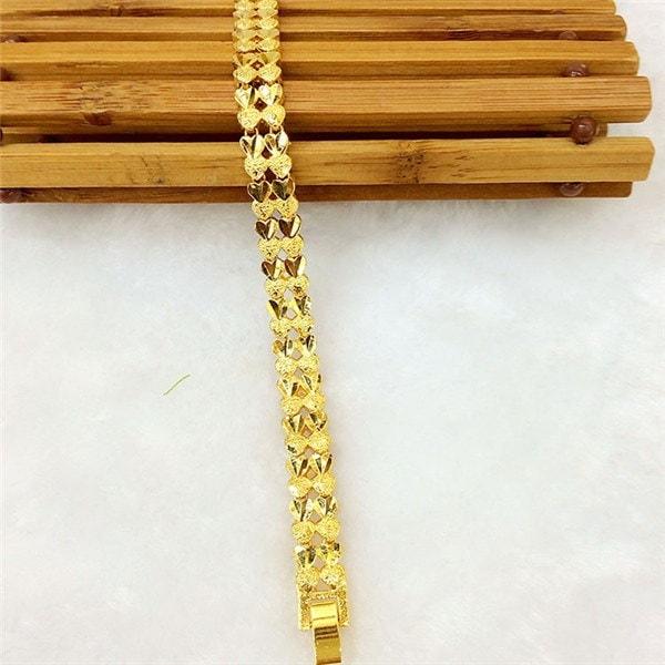 ファッションヴィンテージグラインドハートワードパターンラグジュアリーデザイン24Kゴールド男性または女性のチェーンブレスレットF