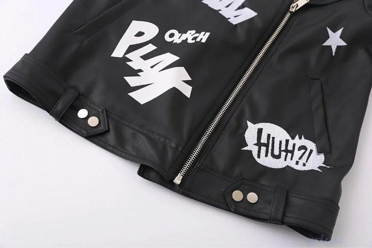 欧米風 レザージャケット 刺繡入り プリント柄 レディース  気品  おしゃなコート  PUジャケット