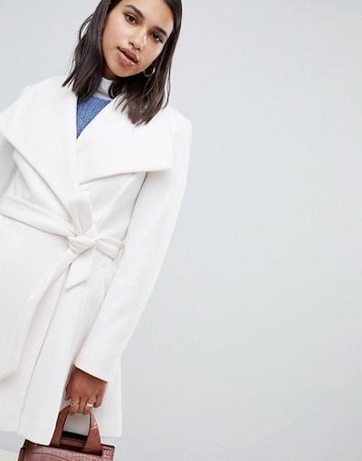エイソス レディース コート アウター ASOS DESIGN waterfall collar coat with tie belt