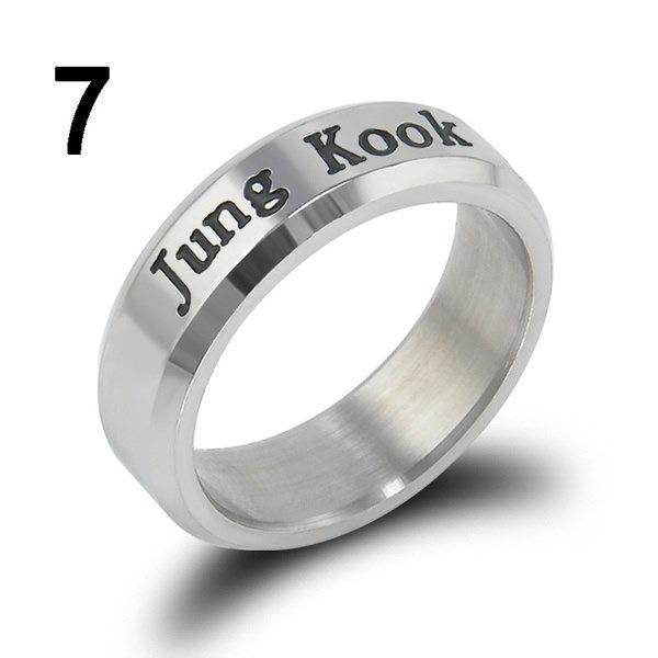 ファッションKPOP BTSメンバーチタン鋼指リング