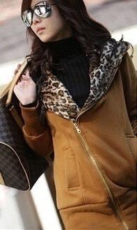 ファッション新デザインレオパードプリントパーカースウェットレディースコートジャケットアウター