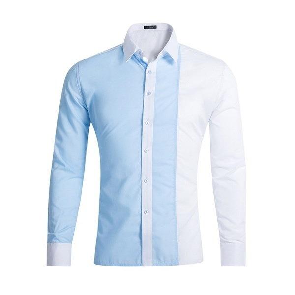 メンズシャツ長袖スリムフィットカミサシャツカジュアル男性ハワイアンシャツ