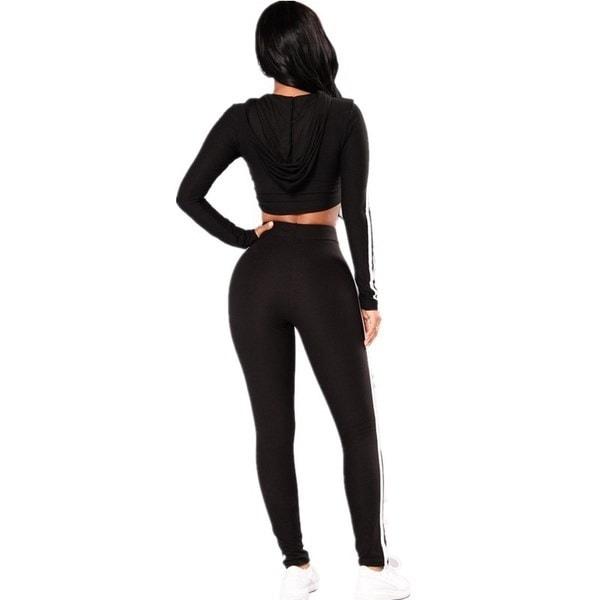 女性のファッションシンプルな衣装スポーツ作物トップパーカー+スリムフィットパンツ2つのピースシンプルトップとトロイ