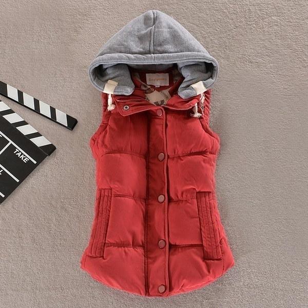 新しい女性の冬のベストパッド入り暖かいフード付きジャケットスリムの上着コットンコート