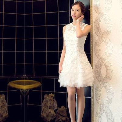 花嫁ブライズメイド ミニドレス パーティードレス イブニングドレス 結婚式披露宴 レース礼服 新作 LFDXMY1A07