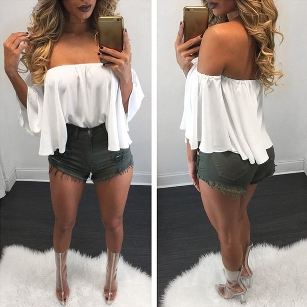 Women Long Sleeve Pullover T Shirt Off Shoulder Casual Blouse  Summer pushgoods