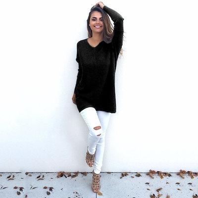 秋冬の女性Vネックルーズは、バギーセータージャンパードレスアウターウェア