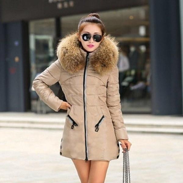 女性の冬の厚いキープウォームダウンジッパージャケットロングコットンパディングアウトウェアVVF