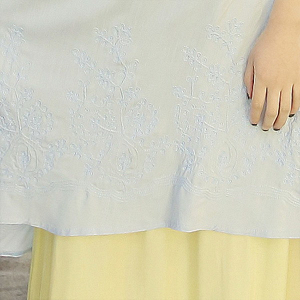 フェイクレイヤード風 ワンピース マキシ丈 ロング丈 セットアップ風 リネン ワンピース 綿麻 ワンピース 森ガール