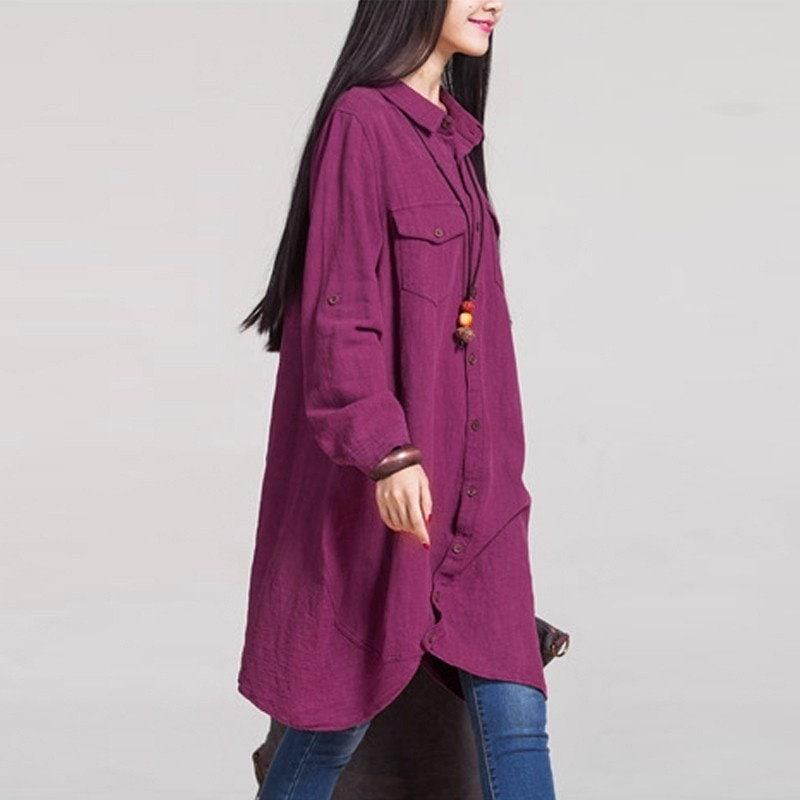 新しいシックなヴィンテージ女性のロングスリーブバギールーズTシャツトップブラウスボタンマキシシャツドレスBluse Hemd