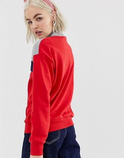 ニュールック レディース パーカー・スウェット アウター New Look half zip sweat in red