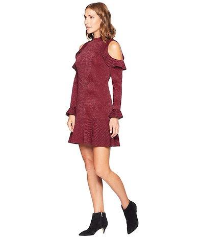 セセ レディース ワンピース トップス Mariella Long Sleeve Cold Shoulder Lurex Jacqard Dress