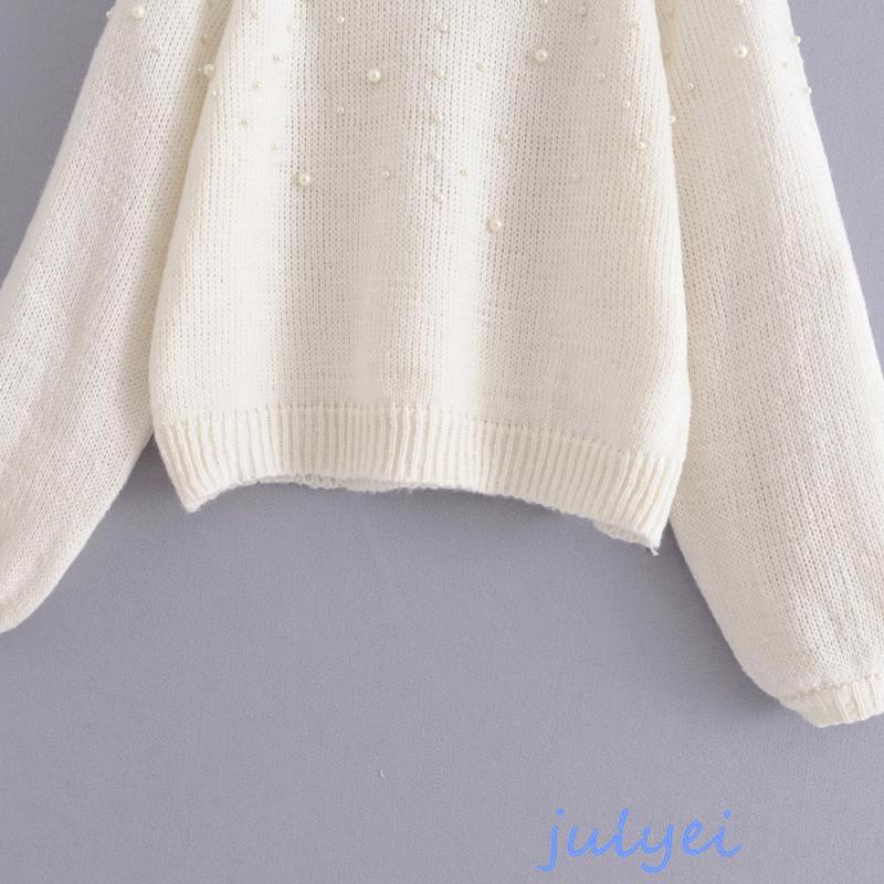 ニット 真珠の飾り 長袖  ラウンドネックニット セーター   ベーシック ゆったり 体型カバー  レディース  冬 トップス  大人 おしゃれ