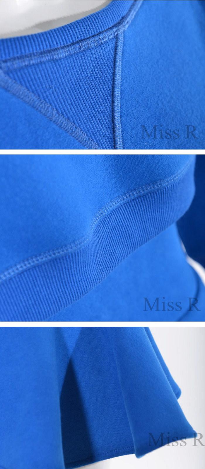 ドルマンスリーブ フレアスカート ミニスカート スウェット セットアップ 秋冬(2色)【Miss R GOLD ゴールド】