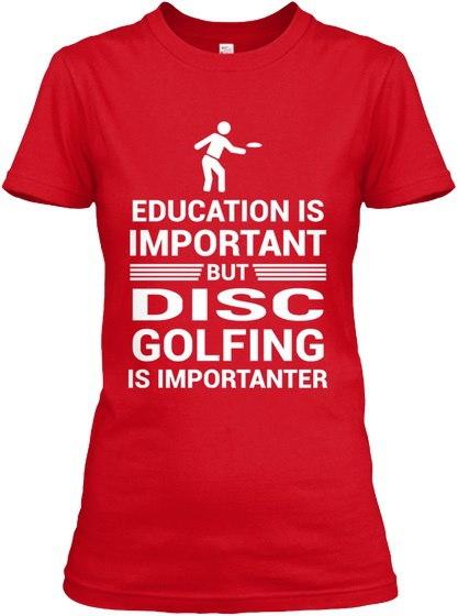 教育重要なしかしディスクゴルフインプギルタンレディースティーTシャツ