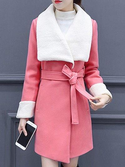 人気ファッション全4色折り襟ベルト付きポケット付きウールアウターコート