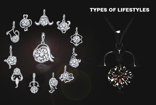 12個の星座シルバーメッキネックレスペンダントジルコンクリスタルダイヤモンド