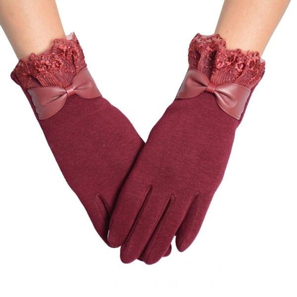ユニセックスメンズ女性エレガントなウィンターアームウォーマータッチスクリーンちょう結びレースコットン手袋