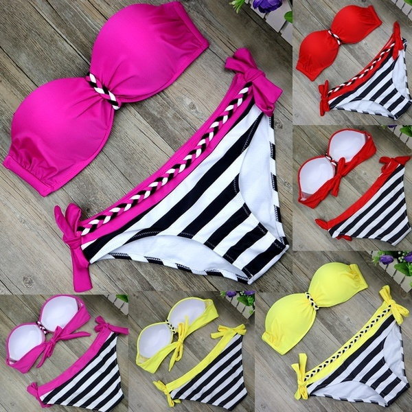女性のファッション夏の水着は、ビキニセットセクシーな2つのピースの水着をプッシュアップストライプ狩り