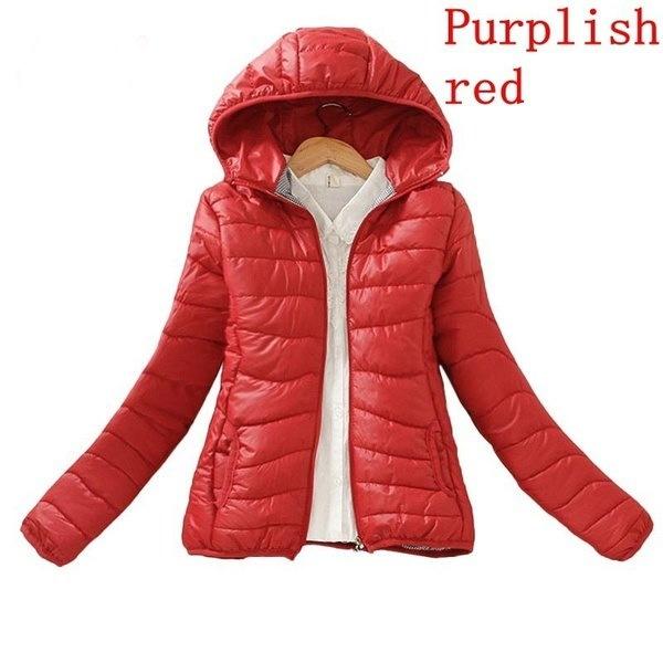 11色のソリッドカラージッパーフード付きの女性のバケットジャケット2017新しいファッション秋冬スリムウォームラディ