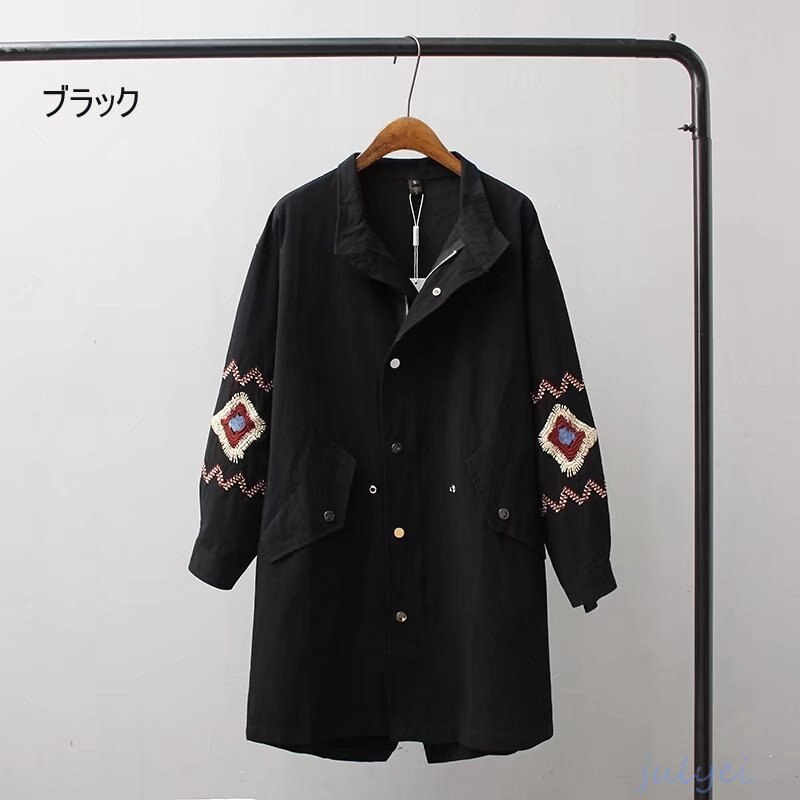 全3COLOR   欧米風 刺繍トレンチコート ロング丈コート 長袖アウター ゆったり  オリーブ、ブラック、チョコ色