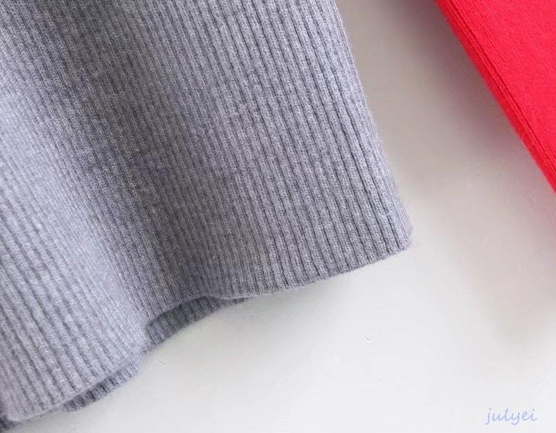 レディース 袖配色 お洒落 ラウンドネックスリムニット ストレッチ 着やせ ニットトップス 薄手 インナー 無地 シンプル