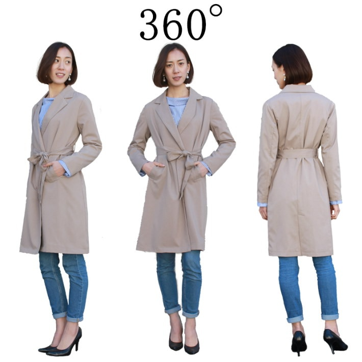 テーラード テロンチコート スプリングコート トレンチコート レディース テロンチ ノーカラー ロング トレンチ コート 春物 春服(80-N39)※納期に10日から14日ほどかかります。