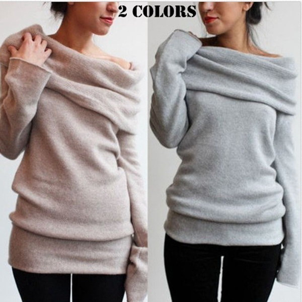 Sexy Women s Heaps Collar  Pullover Jumper Ladies Casual Long Sleeve Jacket Coat Blouse Shirt