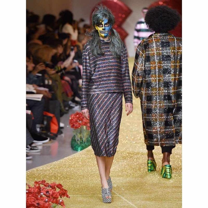 アシシュ レディース トップス【Roll-neck striped sequin-embellished silk top】Grey