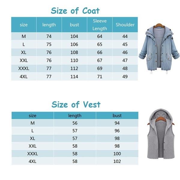 レディースカジュアルフード付きデニムジャケットファッションレトロコート&ベストフードプラスサイズ(M-6XL)