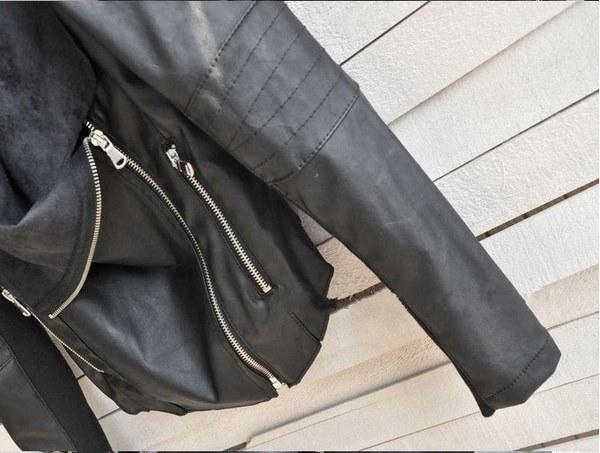 ガールズトップスジャケットオートバイモトPUレザーラペルブリーザジャケットブラック/カーキ