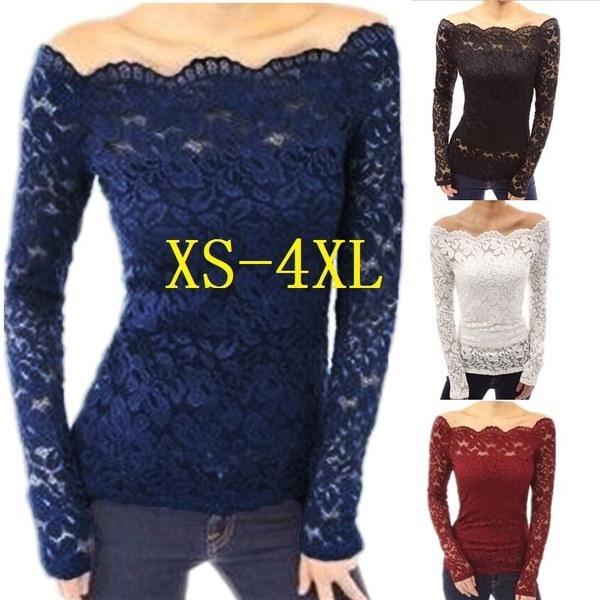 4色秋Blusasセクシーな女性オフショルダースラッシュネックレスレースのかぎ針編みのシャツ長袖スリムCasua