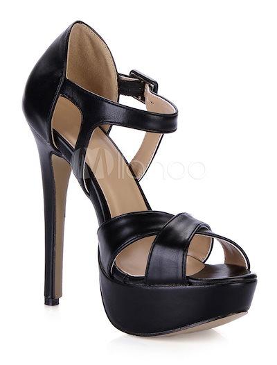 セクシーな黒のPUレザーファッショングラディエーターサンダル