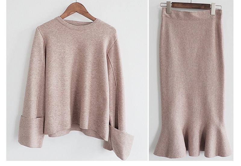 【送料無料】2017冬の新品   韓国ファッション   ニットセーター+マーメイドスカートSET  2点セット