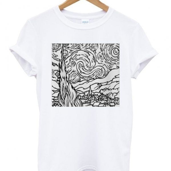 Starry Night Outline Van Gogh Art Graphic T-Shirt Unisex Tumblr Fashion White Tee Casual Tops