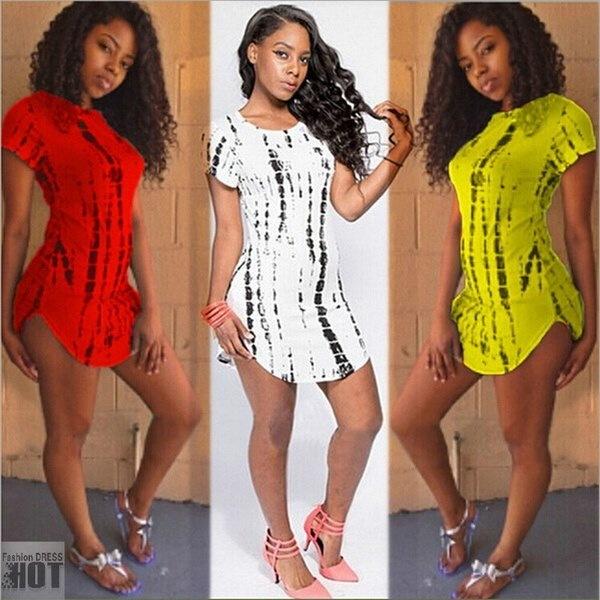 新しい到着夏の女性クラブショートパーティープリントワンピースプラスサイズ包帯トリプルトップTシャツワンピース