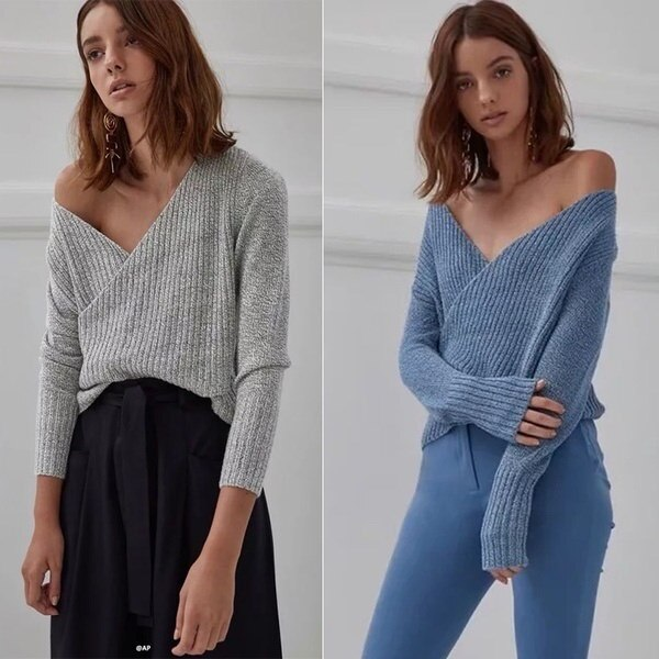 Ladies V Neck Cross Knitting Sweater For Women Autumn Pull Knit Casual Jumper