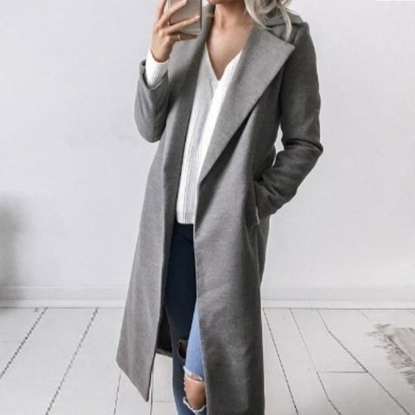 女性の冬の長袖ソリッドカラーコートウールロングトレンコート