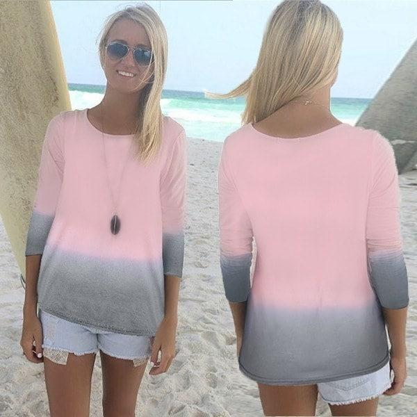 Oberteile Damen Longshirt Langarmshirt Beach Bluse TシャツプルオーバーTunikaトップスブラウス