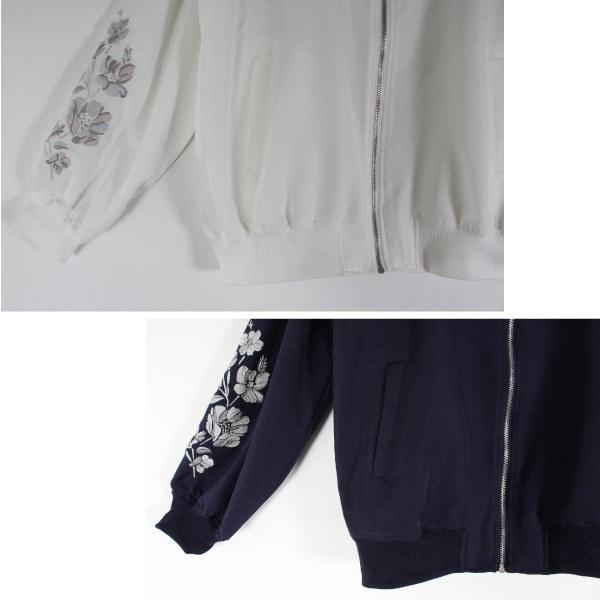 ライトアウター ブルゾン ジャンパー ジャケット リブブルゾン 刺繍 ボリュームスリーブ ツイル アウター レディース ホワイト アイボリー ピンク ネイビー
