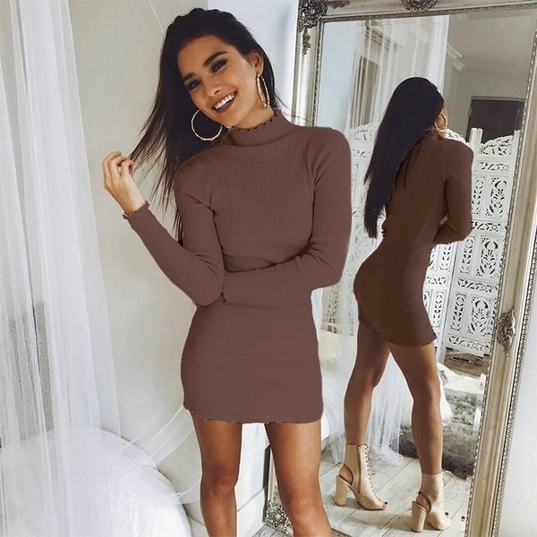 Womens Turtleneck Knitted Long Sleeve Bodycon Dress