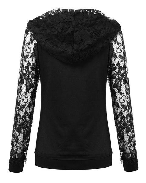 カジュアルな女性のファッションレース長袖ポケット中空スエットシャツパーカートップブラウススリム