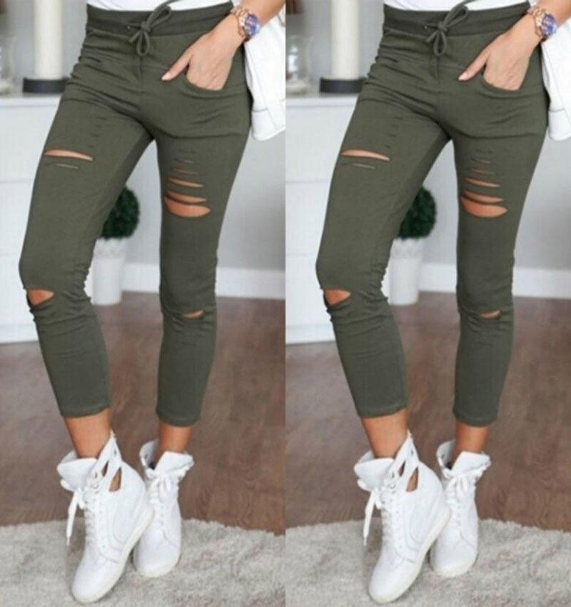 6色の高品質ファッション女性はカプリパンツを裂いた鉛筆ハイウエストパンツ春夏秋