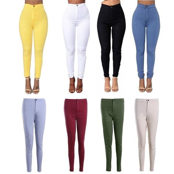 女性の伸縮性のあるデニムジーンズパンツズボンズボンのスキニーペンシルハイウエストの女性のジーンズFemme