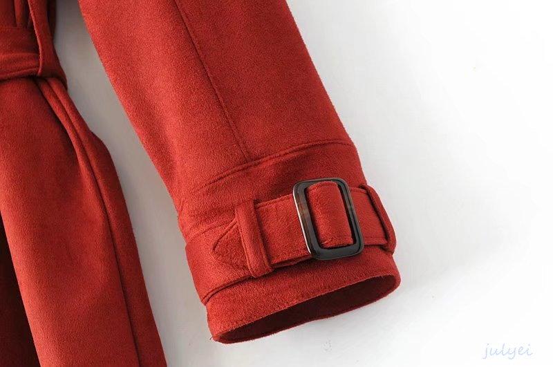 全3COLOR トレンチコート ベスト付き ロング丈  レディース スプリングコート  コート おとな 上品  無地 アウター  カーキ、レッド、ブラック
