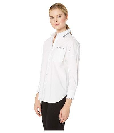 エリオットローレン レディース シャツ トップス Over and Under Button Front & Back Shirt with Blanket Stitch Detail