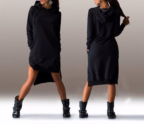 ウェムファッションカジュアル秋冬不規則なロングスリーブソリッドカラーフード付きプルオーバーセータードレス