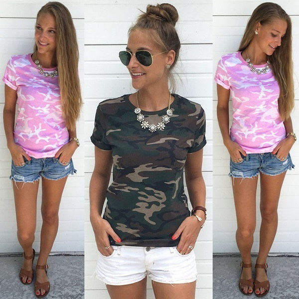 New Large Size XXL 3XL 2017 Summer New Casual Women T-shirt O neck Short Sleeve Camouflage Print Tee