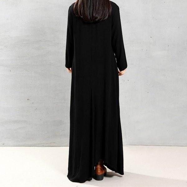 プラスサイズの女性のコットンロングスリーブヴィンテージカフタンカジュアルルーズロングマキシドレス