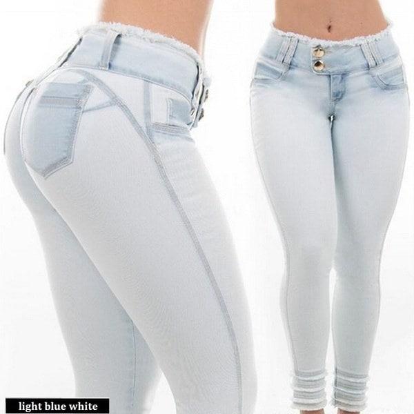 ファッション女性セクシーなボディコンスキニージーンズデニムパンツリップペンシルパンツS  -  2XL